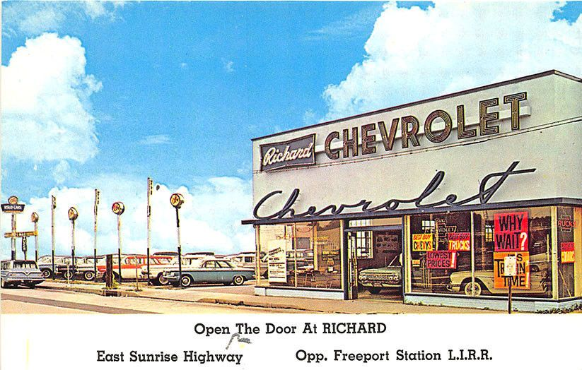 Freeport Long Island L I Ny Richard Chevrolet Car Auto Dealership Postcard Car Dealership Dealership Car Chevrolet