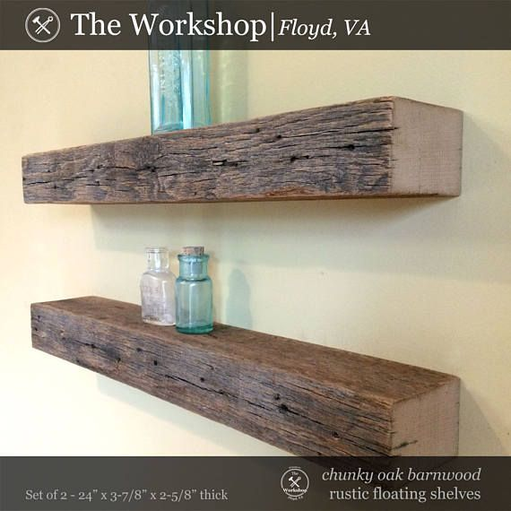 Set Of 2 24 Chunky Rustic Floating Shelves Weathered Gray Reclaimed Wood 19th Century Floating Shelves Rustic Floating Shelves Shelves