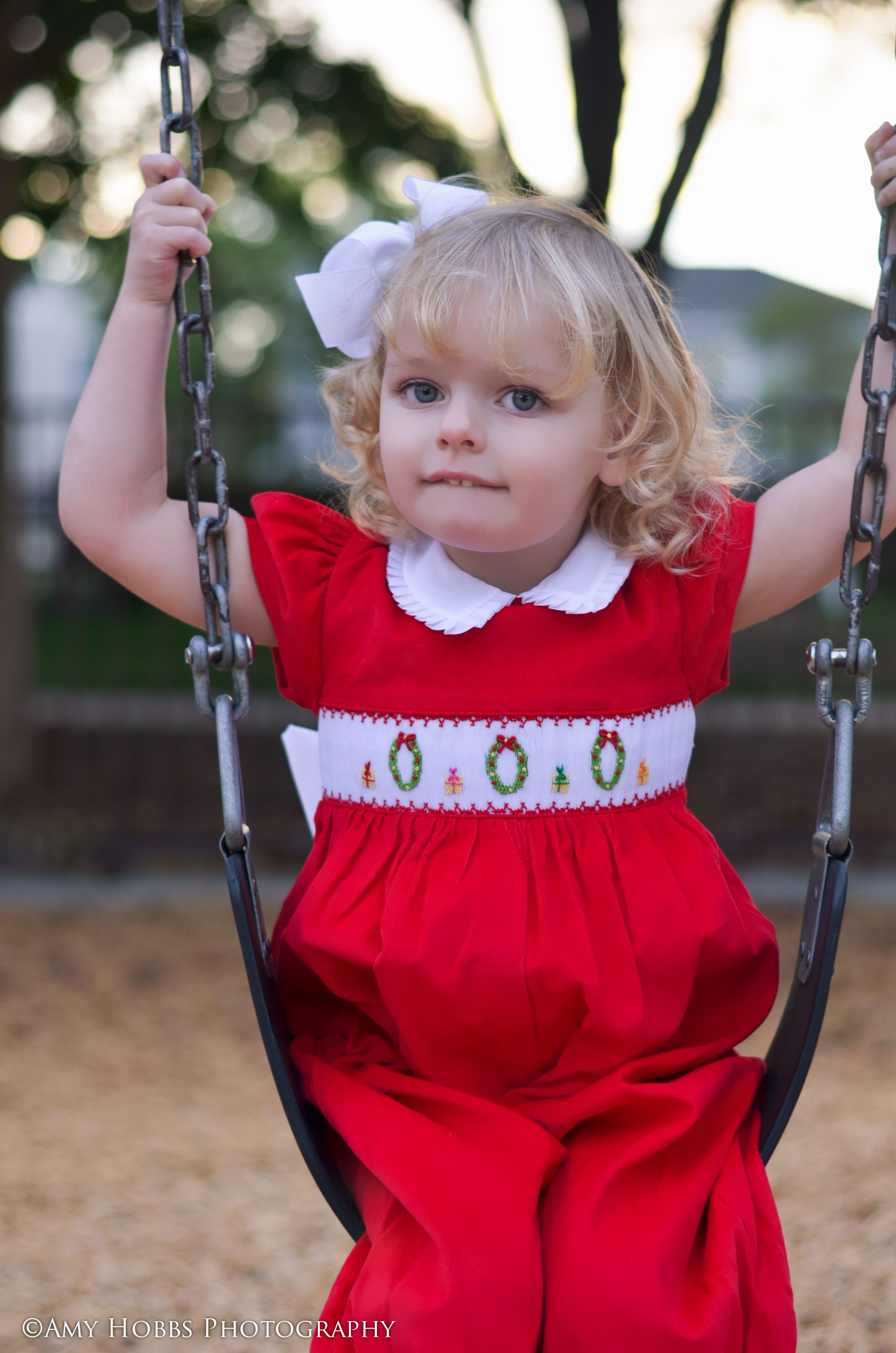 Adorable Baby Girls Smocked Christmas Wreaths Red Jumper Overalls 6m