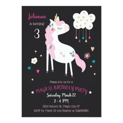 #Unicorn Magical Birthday Party Invitation - #birthday #invitations
