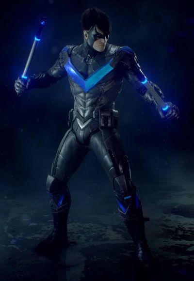 Cosplay Costume Batman Arkham City Nightwing Dick Grayson Blue Vison Halloween