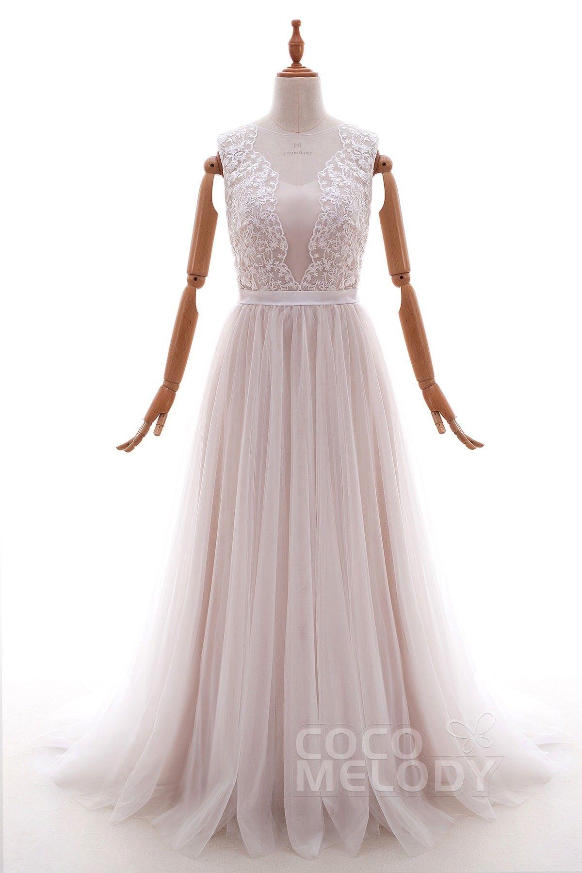 Beach wedding dress under 500  SheathColumn SweepBrush Train Tulle and Lace Wedding Dress LD
