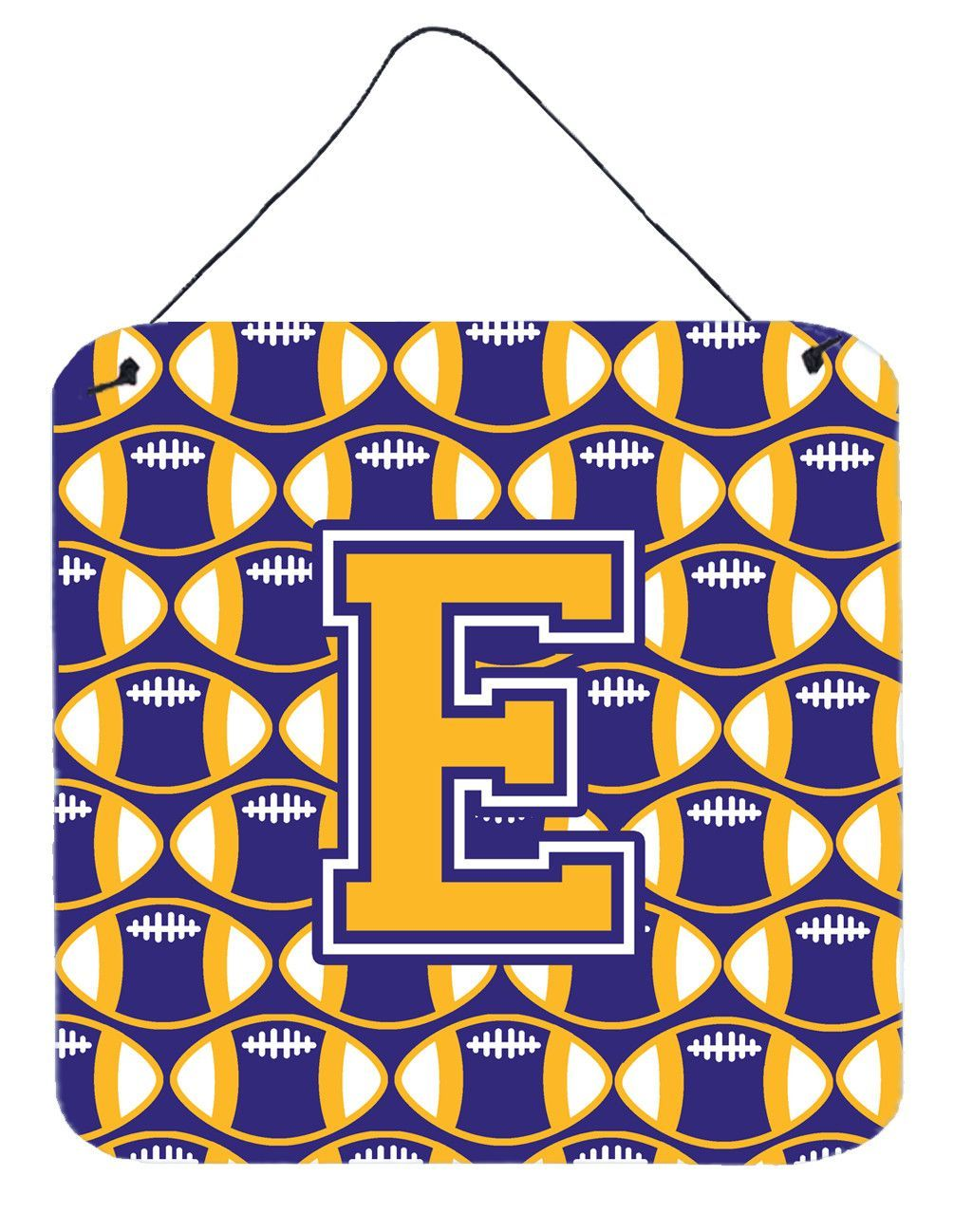 Letter e football purple and gold wall or door hanging prints cj