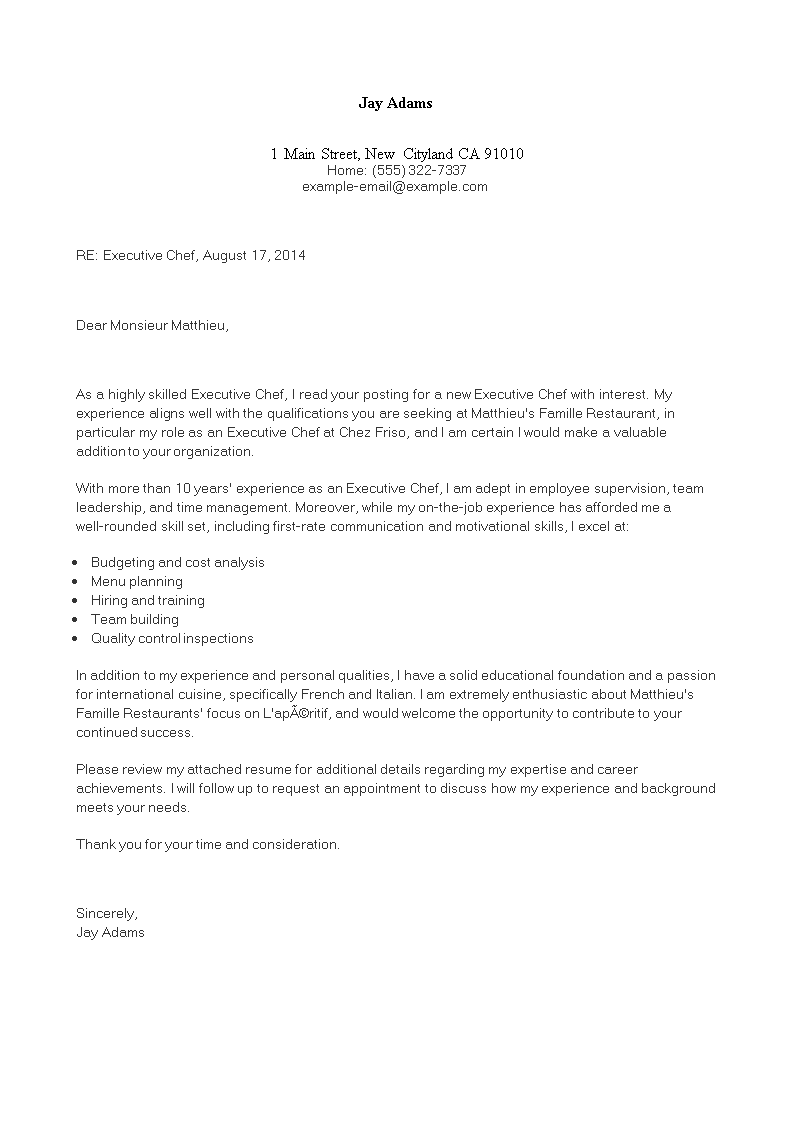 Executive Chef Cover Letter - How to create an Executive ...