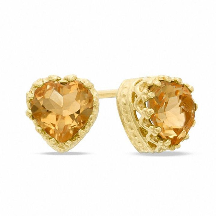Zales 6.0mm Heart-Shaped Citrine Crown Pendant in Sterling Silver with 14K Gold Plate W0gpD