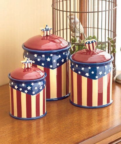 Set Of 3 Americana Canister Jar Red White Blue Patriotic Kitchen Decor Ceramic Stars Stripes