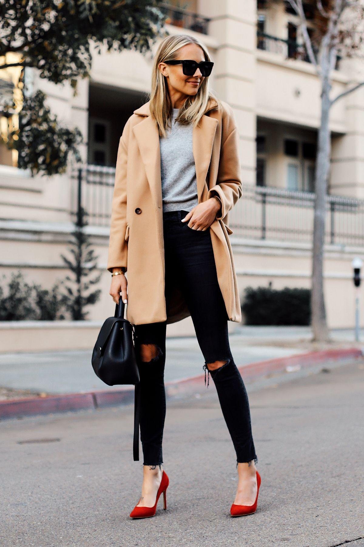 0a98c985ecf Blonde Woman Wearing Camel Coat Grey Sweater Black Ripped Skinny Jeans Red  Pumps Outfit Black Satchel Handbag Fashion Jackson San Diego Fashion  Blogger ...