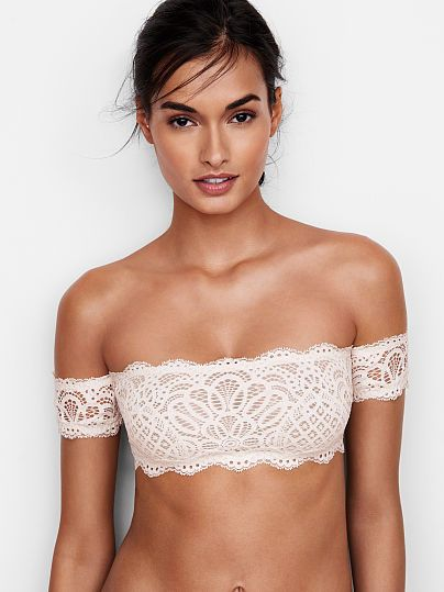 a94c6d6545 Off-the-shoulder Bralette Victoria Secret Love the Cream White Lace Detail.