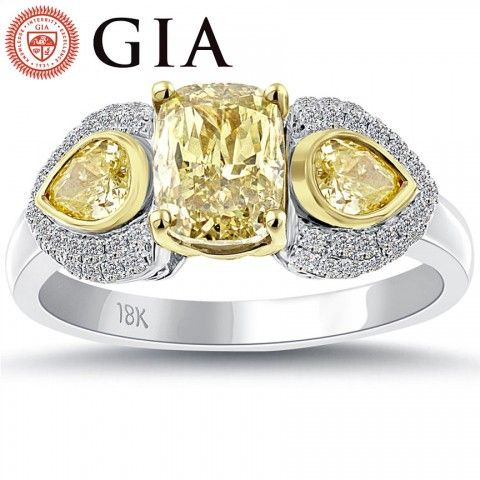 2.40 Carat GIA Certified Natural Fancy Yellow Diamond Engagement Ring 18K Gold - Fancy Color Engagement Rings - Engagement - Lioridiamonds.com