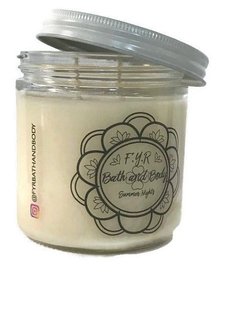 Summer Nights 100% Soy Candle *White 16 oz *Hand Poured ...
