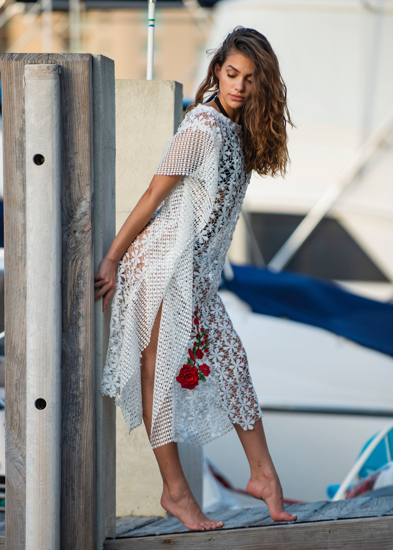 Lace dress cover up  White Summer dress Lace dress Kaftan Beach wedding Dress