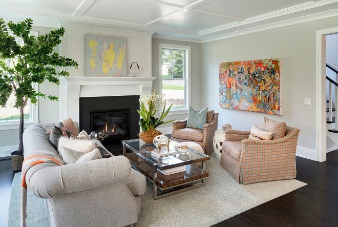 Airy Living Room Paint Color Is Benjamin Moore Gray Owl On Walls And Simply White Trim Fireplace City Homes Design Build LLC