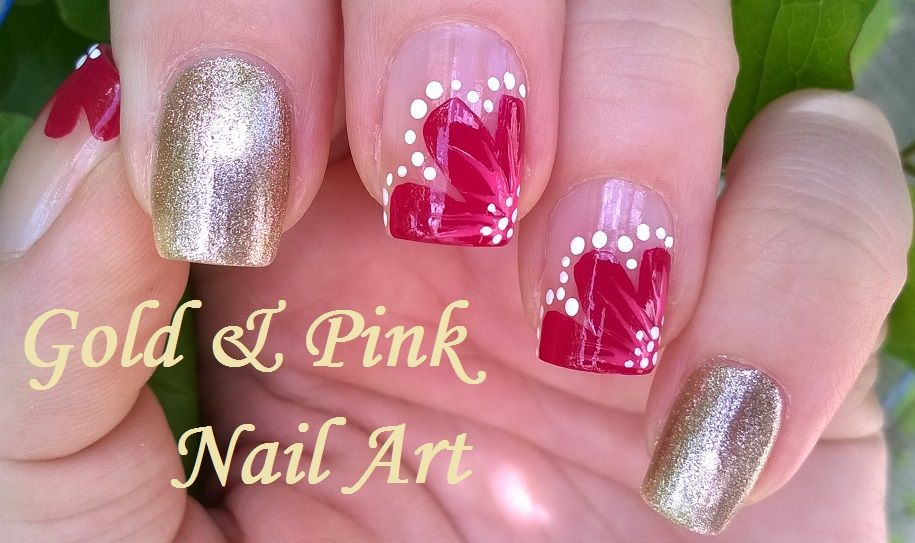 Pretty pink & gold floral #nailart - Easy #naildesigns at home. For more easy ideas please subscribe to my YouTube channel: https://www.youtube.com/user/LifeWorldWomen