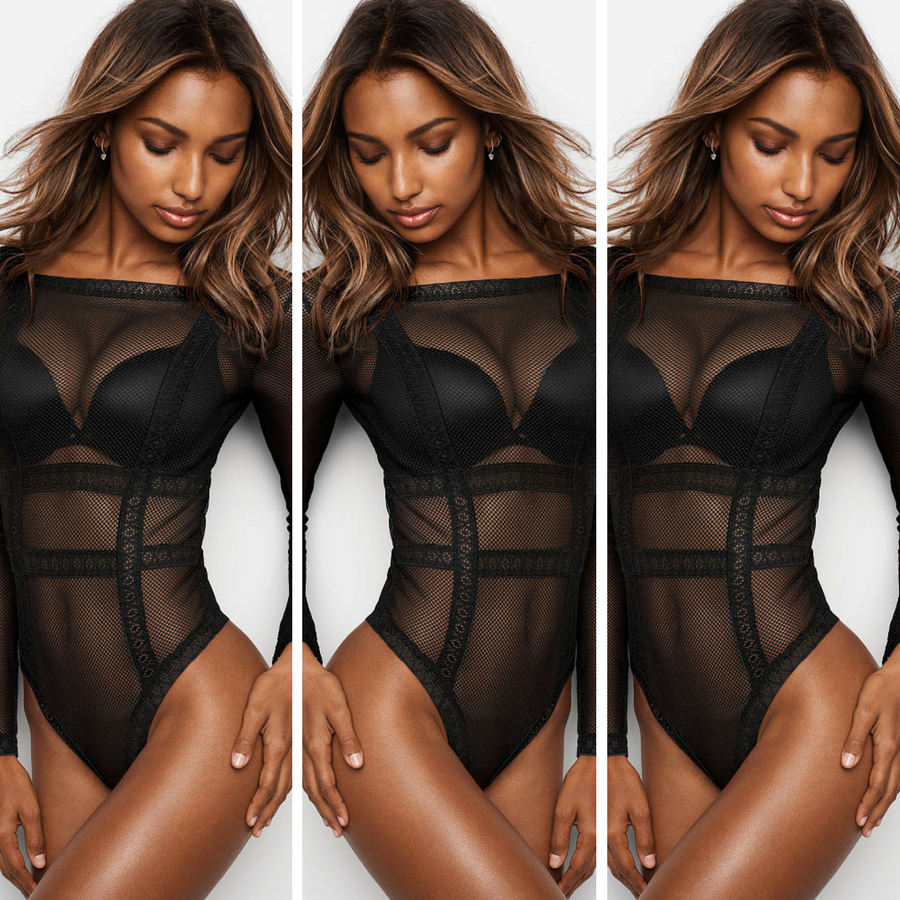 4f34a2584ef Hot as Hell! Jasmine Tookes in very sexy Fishnet Lace Long Sleeve Bodysuit  Victoria s Secret ...