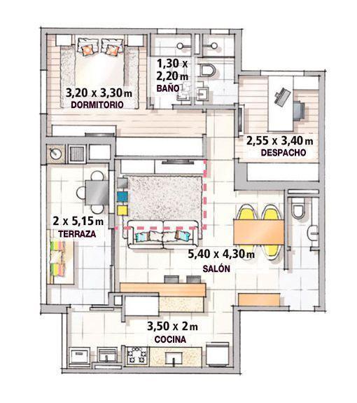 Apartamento de 90 m2 plano de la planta arquitectura for Apartamentos pequenos planos