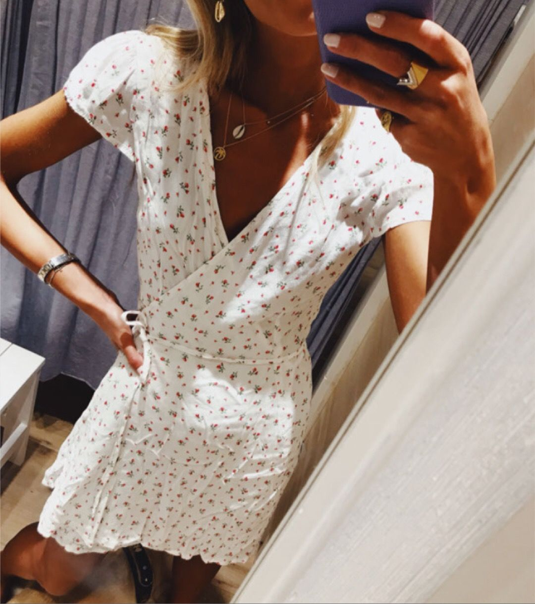 White Wrap Around Dress With Light Pink Small Floral Pattern Fashion Clothes Wrap Around Dress [ 1219 x 1080 Pixel ]