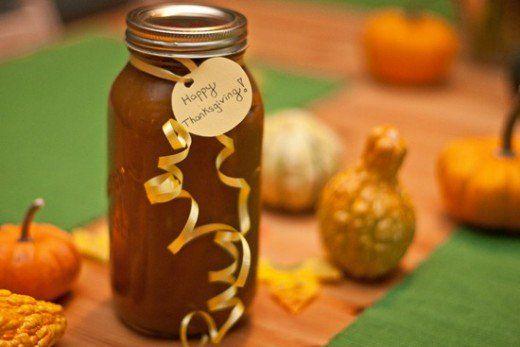 homemade pumpkin butter in a jar