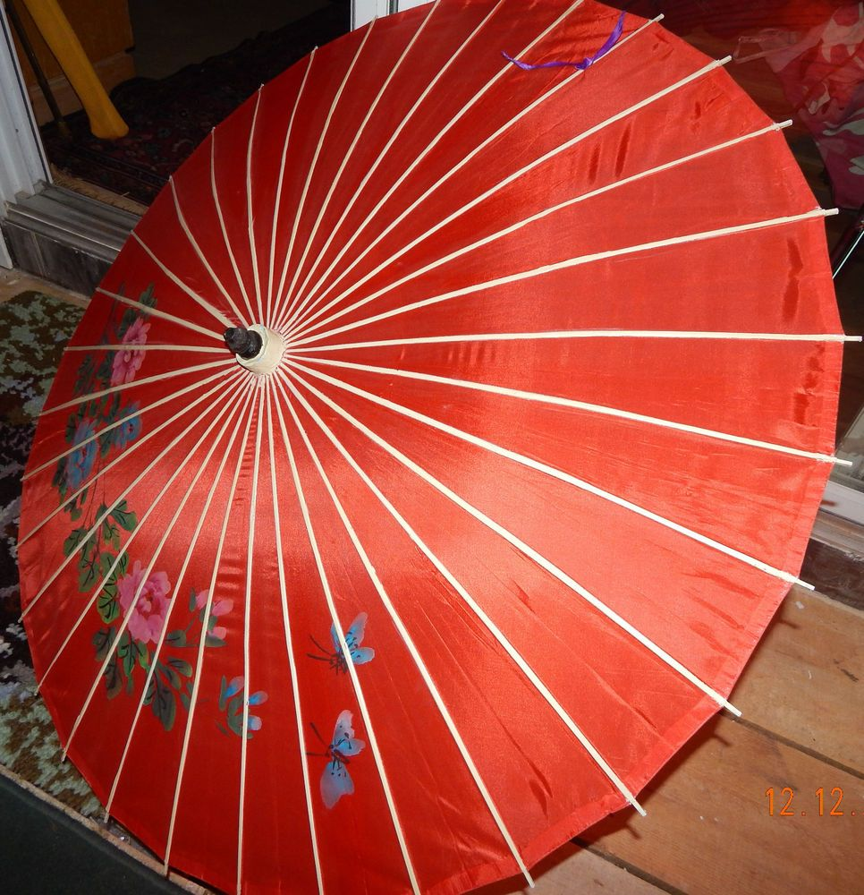 Hand Painted Off WHITE Silk Vintage Chinese Bamboo Parasol Umbrella  Flowers