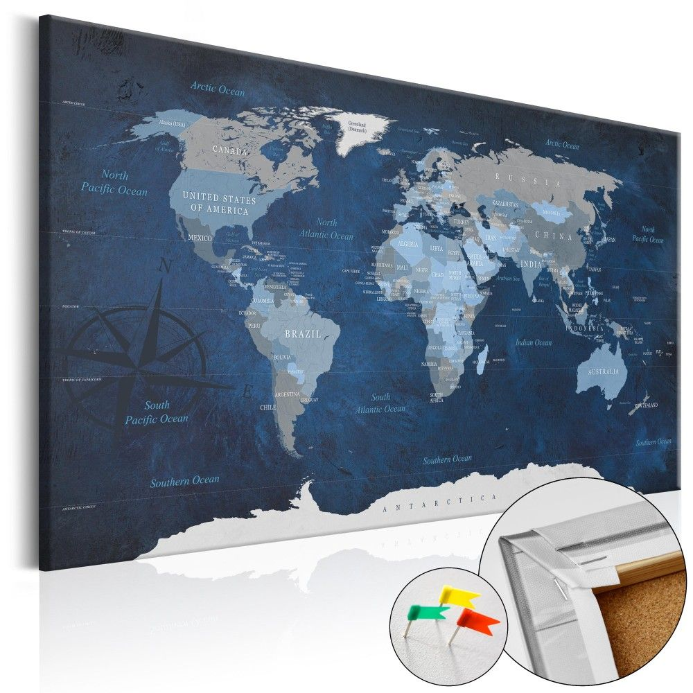 Tableau dcoratif en lige dark blue world cork map tableaux tableau dcoratif en lige dark blue world cork map tableaux en lige gumiabroncs Choice Image