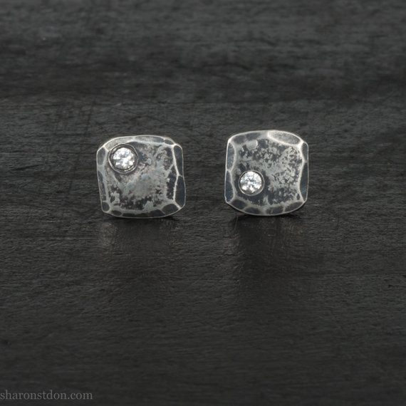 157bf0f85 Handmade small sterling silver stud earrings for men | Tiny square earrings  with white cubic zirconi