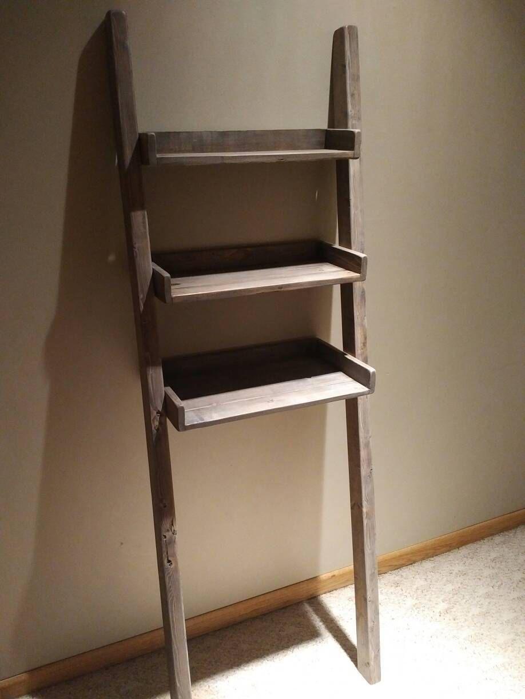 Custom Order For A Gray Brown Ladder Shelf Bathroom Shelf Decor Gray Bathroom Accessories Bathroom Shelves Over Toilet