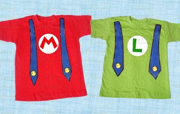 9ee7ce4f30 Kit Camisetas divertidas 2 peças Mario Princesa e amigos no Elo7 ...