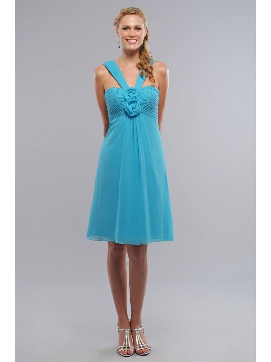 Romantic Blue Chiffon V Neck Empire Short Bridesmaid Dress