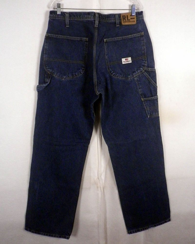 2928d08d457b65 vtg 90s euc Polo Ralph Lauren blue Denim Carpenter Jeans hammer loop 34 X 34