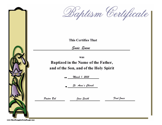 This printable baptismal certificate has a classic look and a baptismal certificate for a child or adult with the title in lavender script and yadclub Image collections