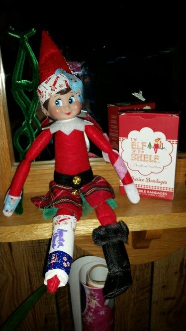 Night 20 Injured Elf She S Bandaged And Banged Up Santa Signed Her Cast And She S Got A Crutch To Help Her Get Around Elf Elf On The Shelf Holiday Decor