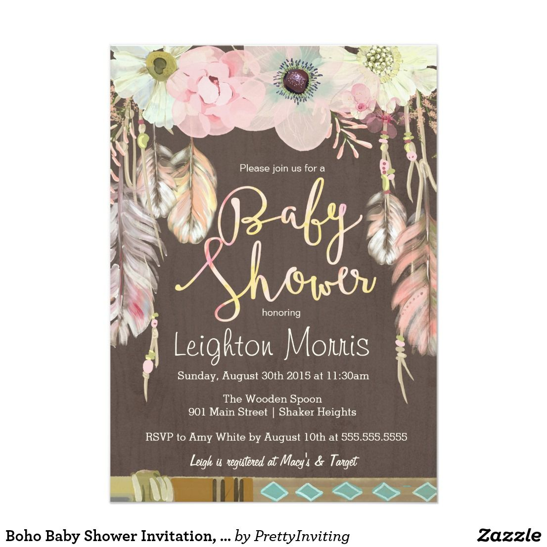 Boho Baby Shower Invitation, Tribal Feather Rustic Card Bohemian ...