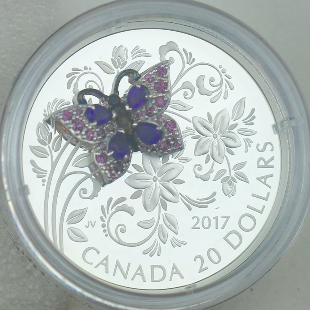 2017 Butterfly Bejeweled Bugs $20 1OZ Pure Silver Proof Coin Canada gemstones