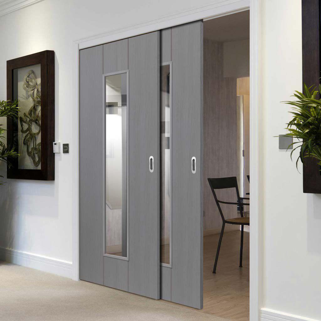 Thruslide Nuance Ardosia Slate Grey Flush 2 Sliding Doors And Frame Kit Clear Glass Prefinished Lifestyle Sliding Doors Internal Sliding Doors Loft Style