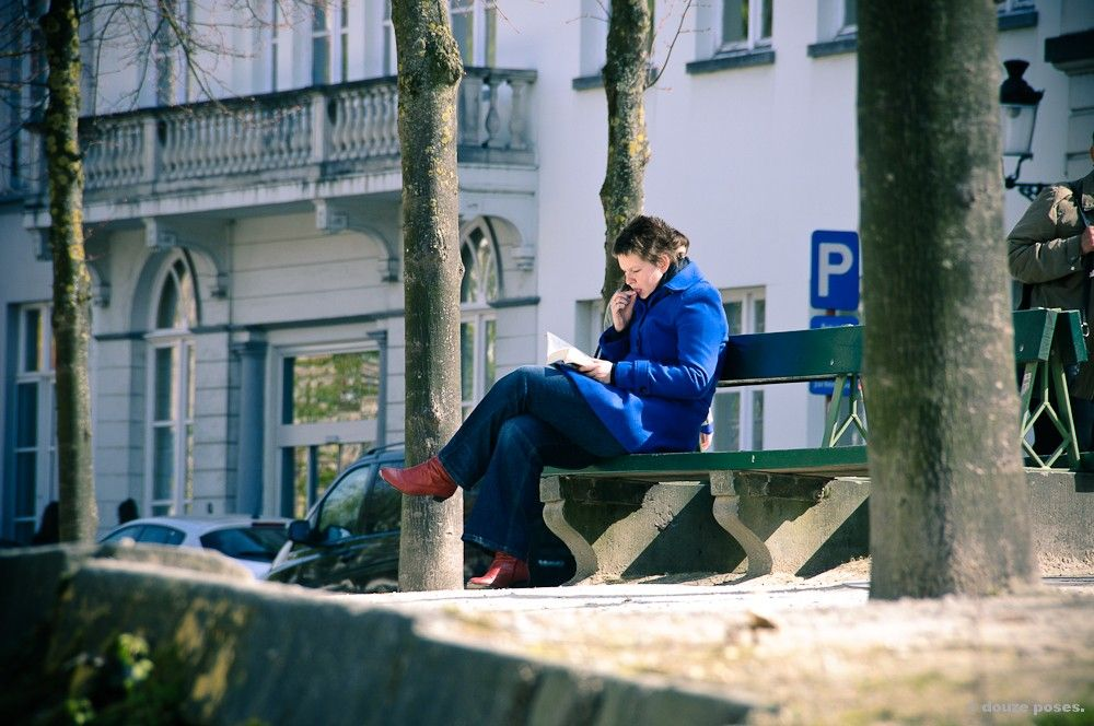 Woman on a bench.