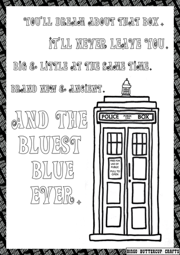 TARDIS love coloring page MORE