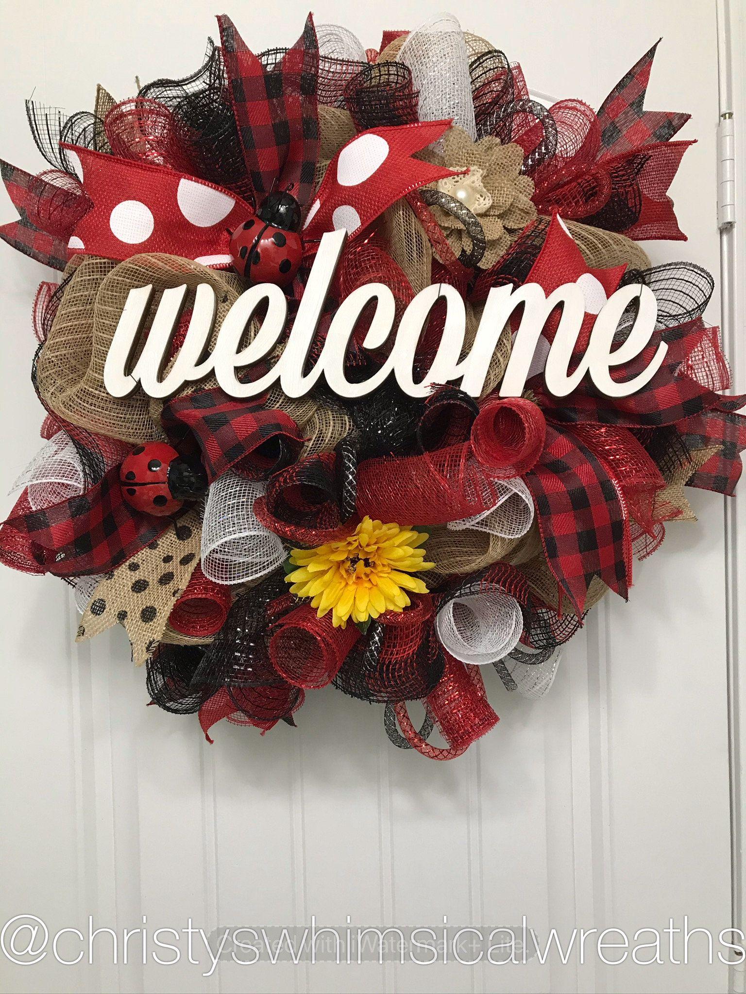 Photo of Ladybug wreath, summer wreath, sunflower wreath, burlap red black wreath, peasant wreath, spring wreath, whimsical wreath, Mother's Day