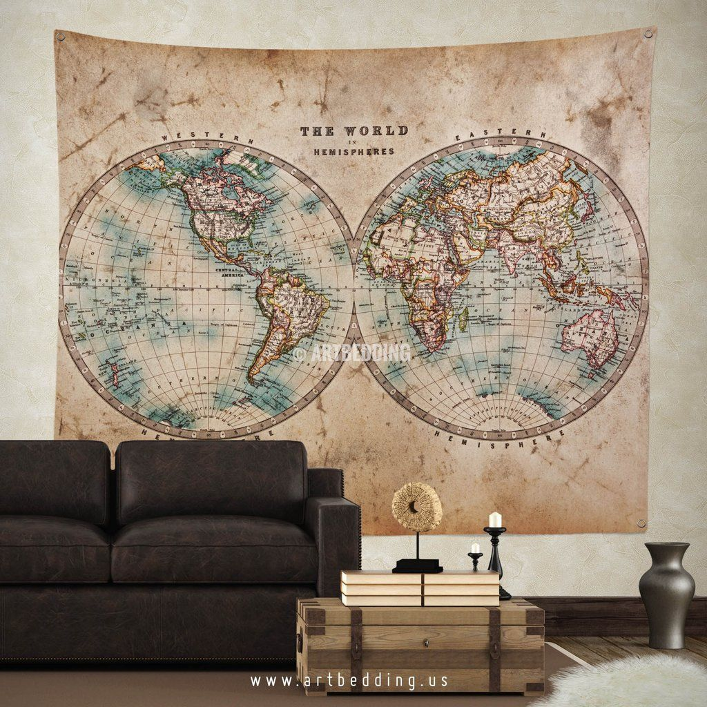 Old world map wall tapestry vintage interior world map wall