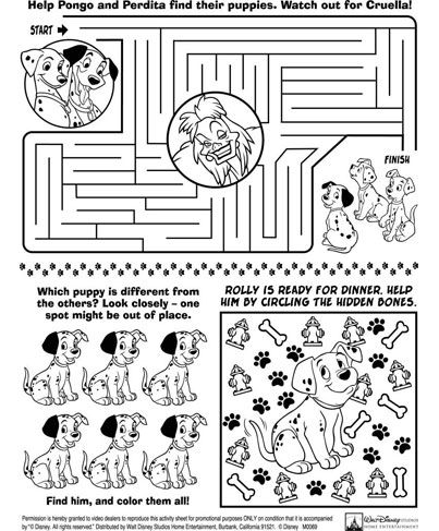 101 Dalmations Activity Sheet DIY Kids' Travel Activity