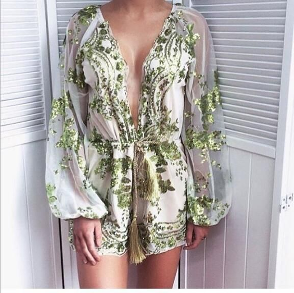 14f32d311d Autumn Gold sequin embroidery elegant jumpsuit romper Transparent mesh sleeve  playsuit women Deep v neck overalls