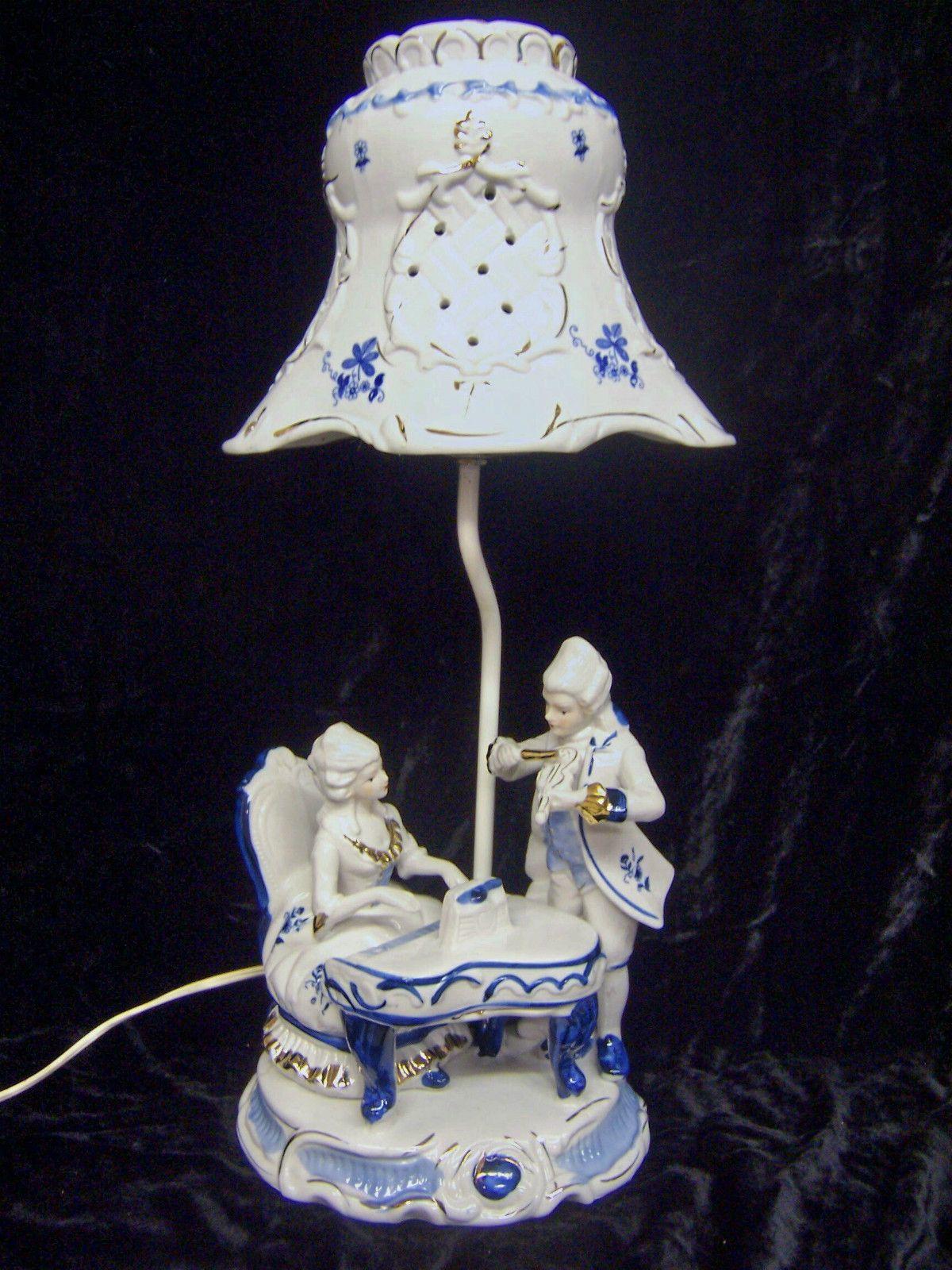 Antique porcelain table lamps - Vintage Blue White Porcelain Victorian Figurine Table Lamp W Porcelain Shade Ebay