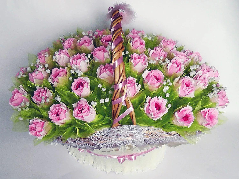 Корзинка с розами из конфет и гофрированной бумаги. Мастер