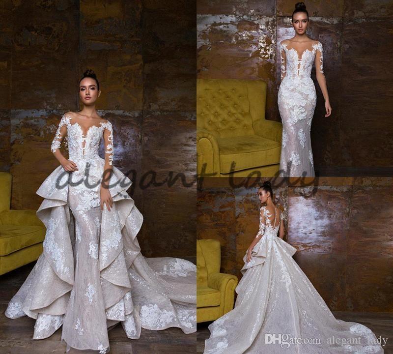2018 Bohemian Wedding Dresses With Detachable Skirt Sweep Train Lace Applique Sequins Long Sleeve Brida Wedding Dresses Bridal Dresses Bohemian Wedding Dresses