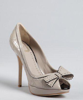ff3297969f9 Christian Dior grey patent leather dual mini bow  Idyll  platform pumps