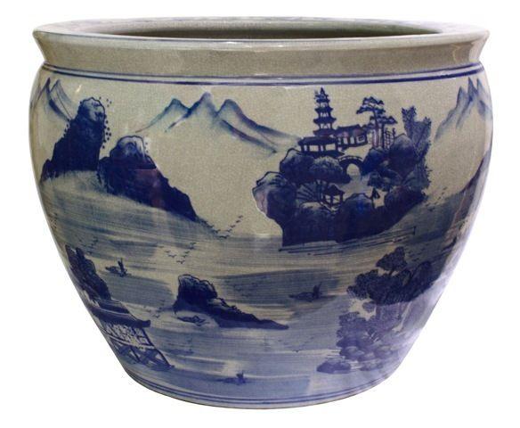 Chinese Blue And White Landscape Fish Bowl Planters Blue White Planters Flower Pots