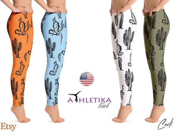 2400088810 Succulent Yoga Leggings Cacti Women Workout Black Cactus Active Gear Hot Gym  Wear Clothing Pant Tigh