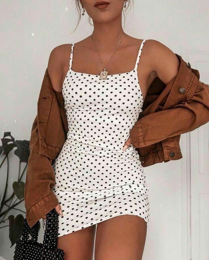 Poka Dot Kleid, Frühlingsmode, trendige Mode Mode Inspo, braune Jacke, Mini… ... - Welcome to Blog