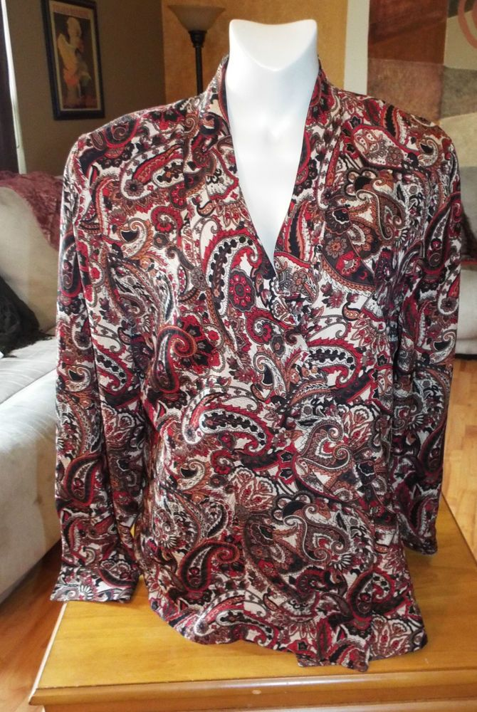 Womens Ladies Vintage 80s Paisley Lord&Taylor  Silk Jacktet Blouse Sz 12 #LordTaylor