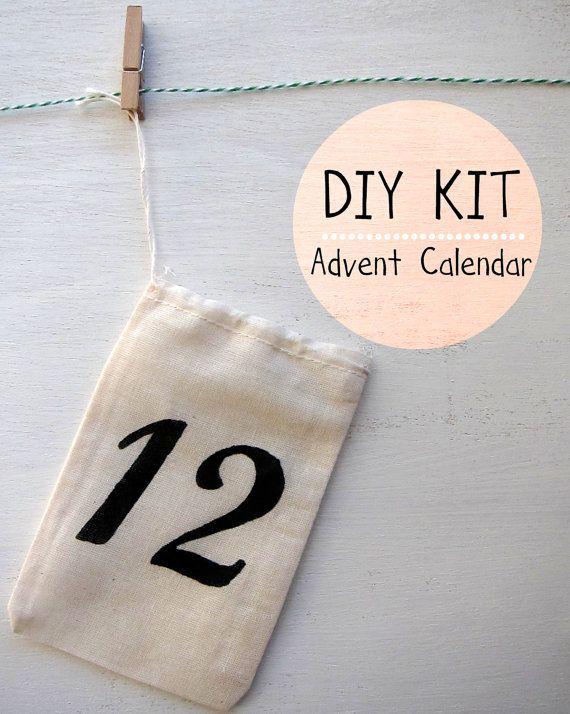 Diy Advent Calendar Kit 12 Small Cotton Bags 20 00 Via Etsy