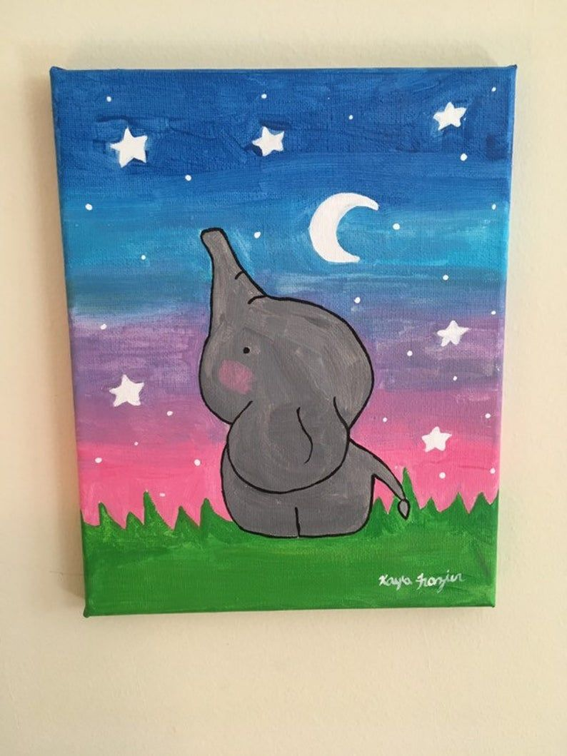 Cute Elephant Acrylic 8x10 Canvas Painting Etsy Kids Art Mini