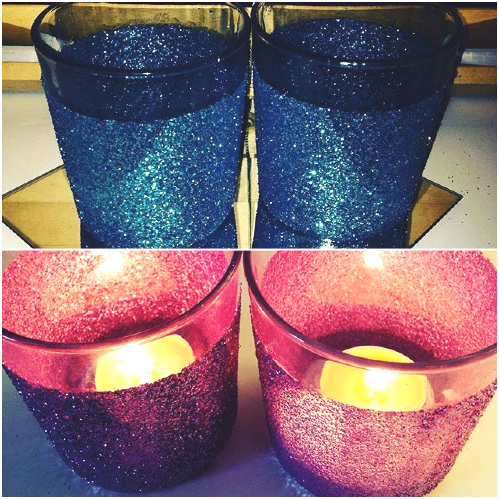 Glitter glue candle holders £4 for four!   #sparkly #successfullpinterest